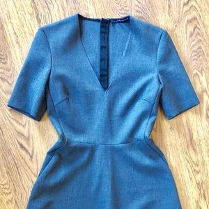 NWOT Zara Woman Grey Power Midi Dress Full Skirt